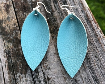 Turquoise Leather Leaf Earrings-Joanna Gaines Inspired Earrings-Large Leaf Earrings-Lightweight Leather Earrings