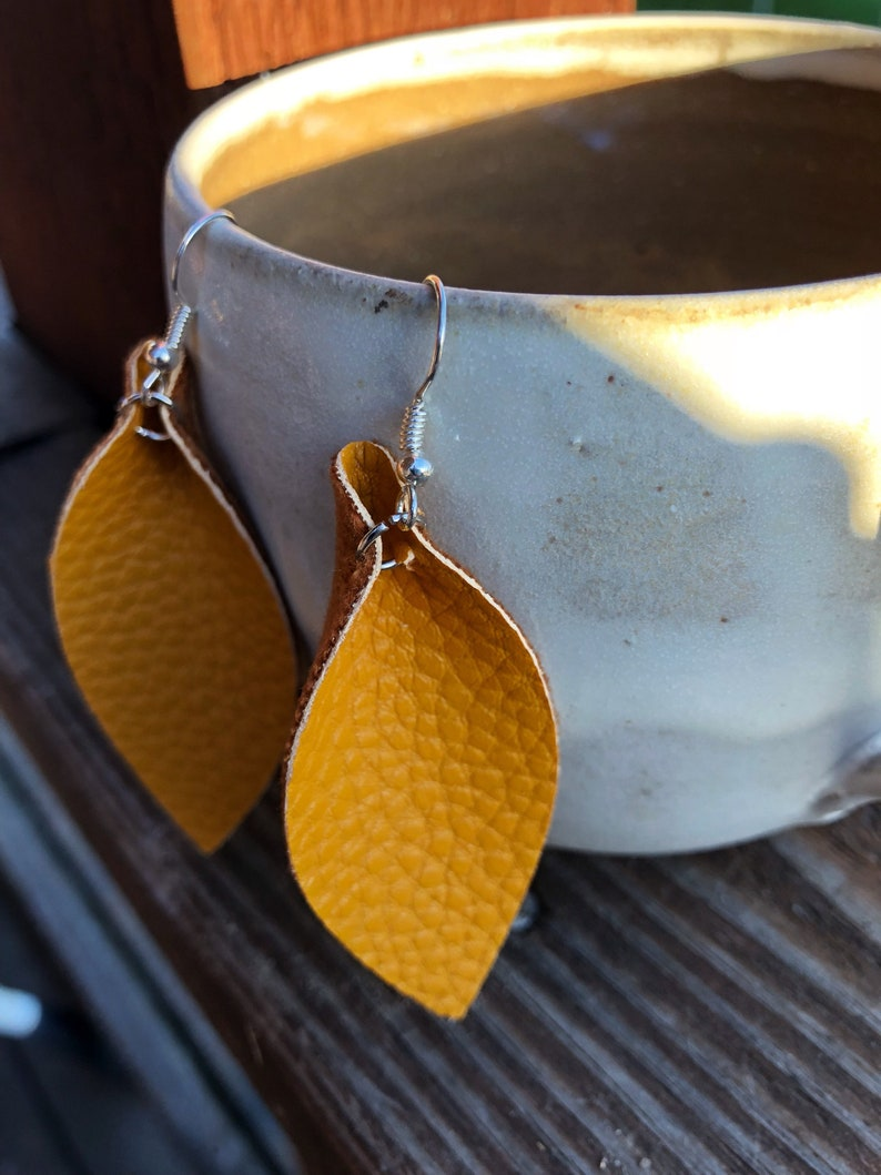 Mustard Yellow Leather Leaf Earrings-Joanna Gaines image 0
