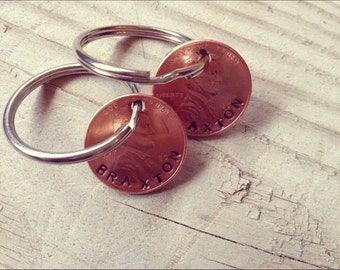 My Lucky Pennies Key Ring-Custom Penny Keychain-Personalized Keychain