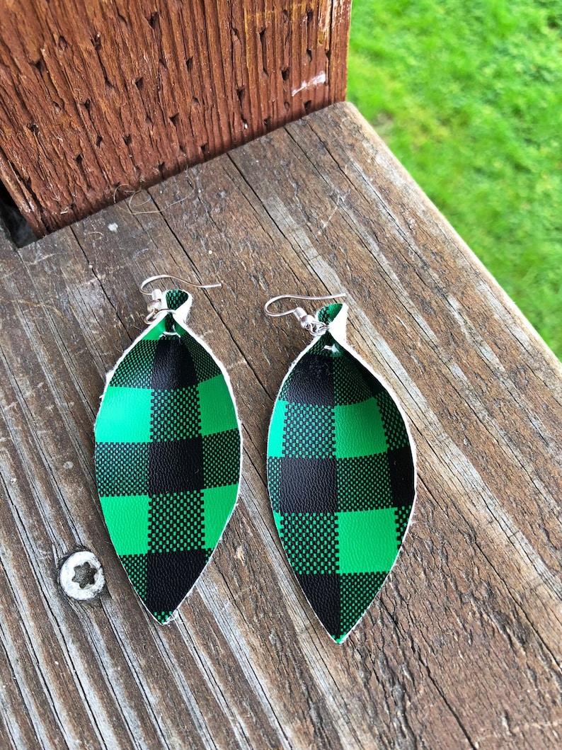 Buffalo Plaid Leather Leaf Earrings-Joanna Gaines Inspired image 0