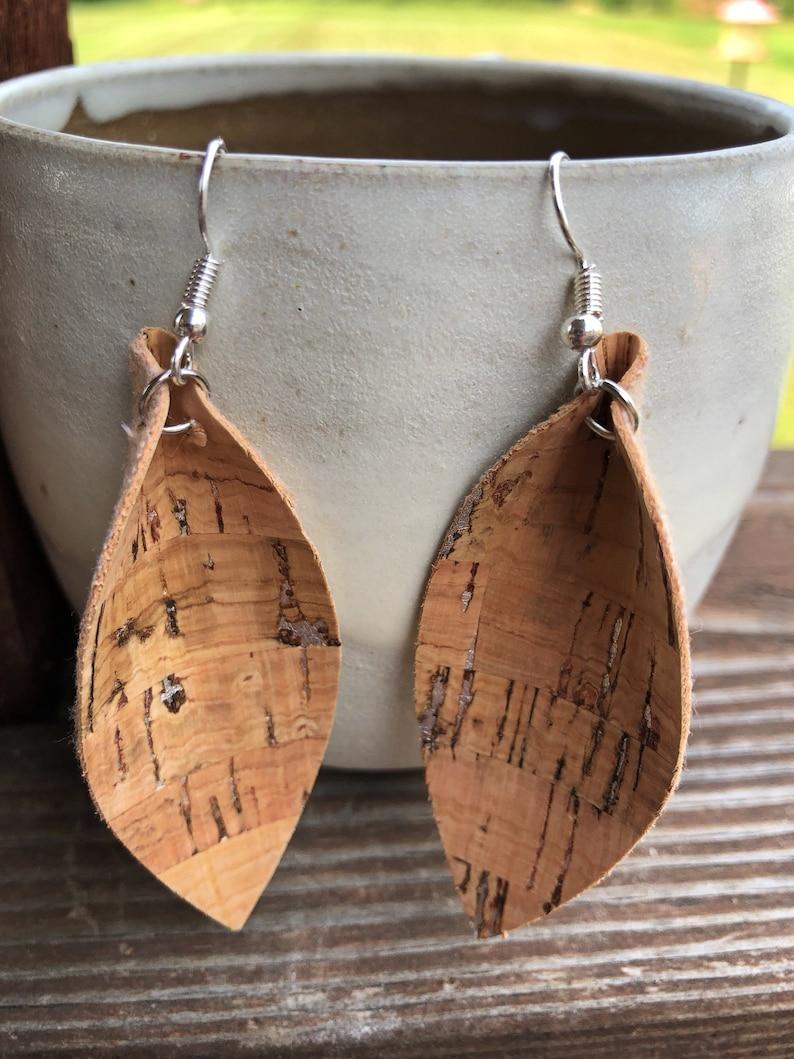 Cork Leaf Earrings-Joanna Gaines Inspired Earrings-Large Leaf image 0