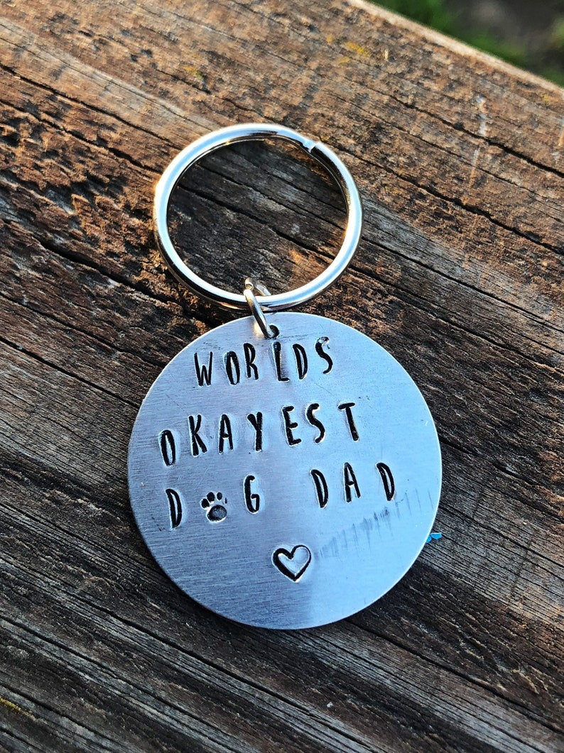 Dog Mom or Dad Keychains-Handstamped Pet Keyring-Gifts for image 0