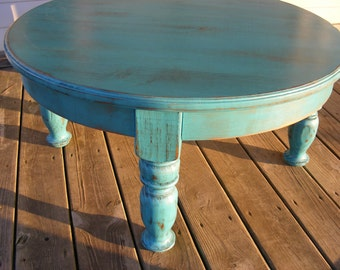 beautiful funky handcrafted distressed turquoise 36 inch round 18 inch tall coffee table - Distressed Round Coffee Tables