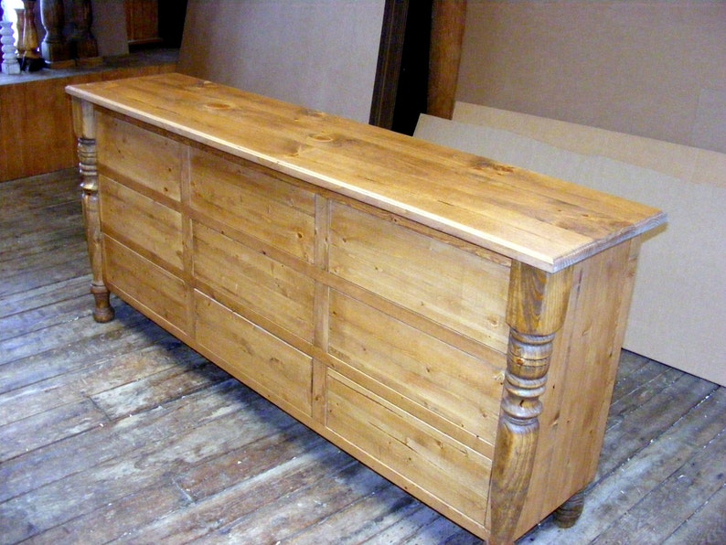 Solid Pine 9 Drawer Dresser Rustic Pine Finish Handcrafted Legs