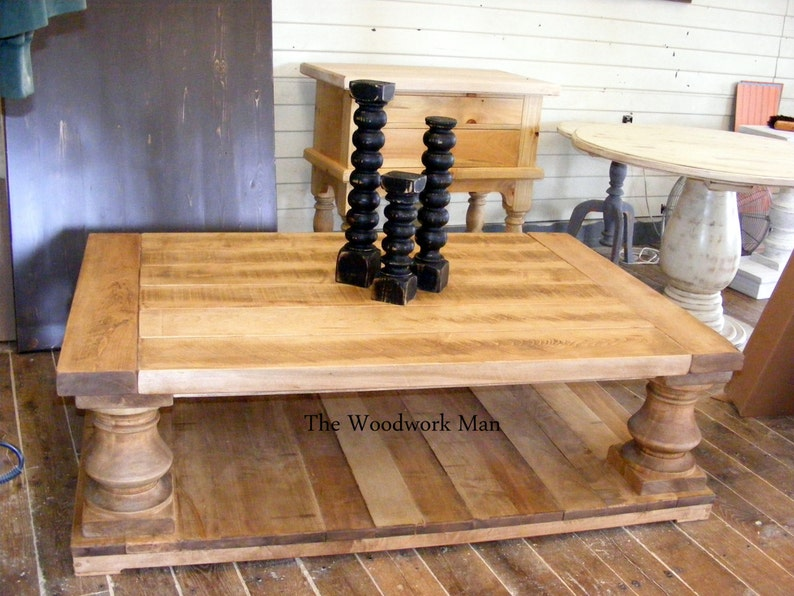 Maple Wood Coffee Table.Solid Maple Wood Balustrade Coffee Table Beautiful Old Wood Finish Chunky Legs Completely Handcrafted