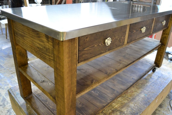Beautiful But Simple Kitchen Island Stainless Steel Top Square Etsy