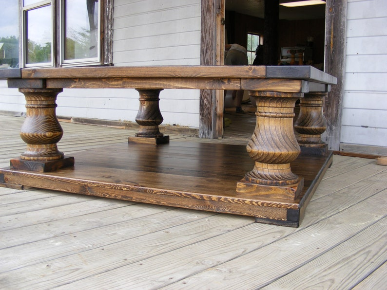 48x48x19 Dark Walnut Wood Finish Balustrade Coffee Table Beautiful Chunky  Legs Completely Handcrafted