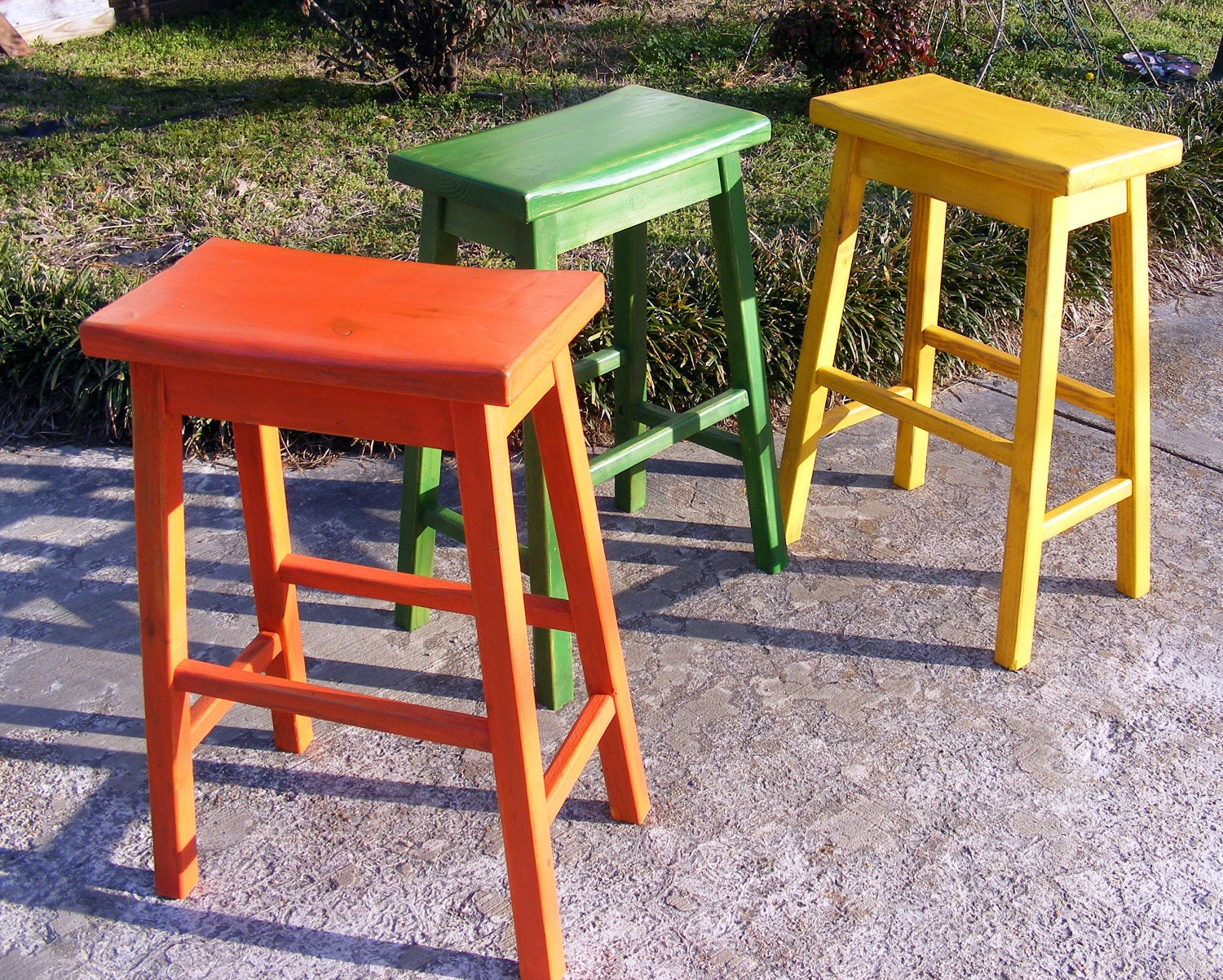 Terrific Saddle Stools Set Of 3 Handcrafted Solid Wood Distressed Bright Colors Orange Green Yellow Pdpeps Interior Chair Design Pdpepsorg