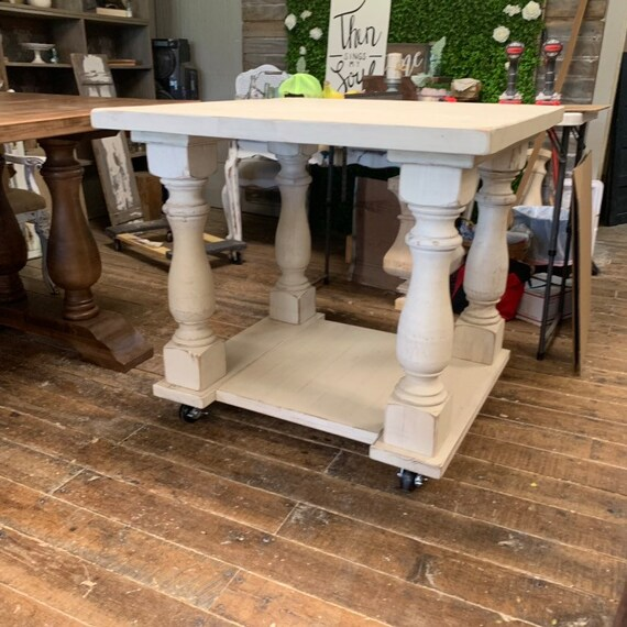 Solid Pine Kitchen Island Table Distressed Ivory Finish Completely  Handcrafted Solid Pine Balustrade Legs