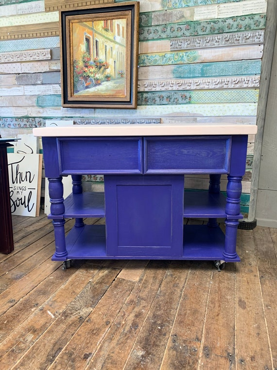 Mozart Blue Solid Oak Kitchen Island With 2 Inch Maple Butcher Etsy
