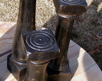 Distressed Black Balustrade Candlesticks, set of 3 Handcrafted Vintage Style