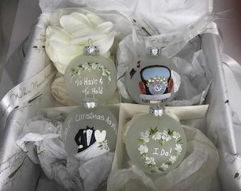 Heirloom Boxed Set of Elegant Handpainted Wedding Keepsake Ornaments for the Bride and Groom