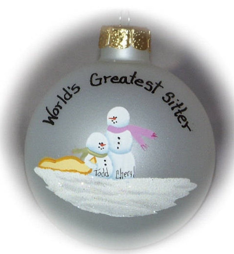 Personalized Babysitter Bigger Sister Baby & Mom  Ornament image 0