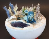 Glaceon Pokeball Diorama Terrarium with 4 inch stand, gift box free original design 3 quot Pokemon sticker. Custom orders available.