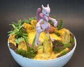 Mewtwo Pokeball Diorama Terrarium, with matching stand, 4.5 inch, free 3 quot Pokemon sticker. Custom orders available.