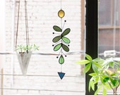 Cactus Suncatcher,Glass suncatcher,Leaf suncatcher,Stained glass art,Art mobile,Cactus decor,Succulent gift,Cactus plant,Succulent plant