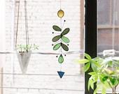 Cactus Suncatcher,Glass suncatcher,Leaf suncatcher,Stained glass art,Art mobile,Cactus decor,Succulent gift,Cactus plant,Succulent plant