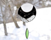 Moon suncatcher,Stained glass suncatcher,Black and white art,Window suncatcher,Hanging mobile, Native art,Garden decoration,Dreamcatcher