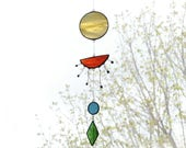 Sunset Suncatcher,Stained glass suncatcher,Sun suncatcher,Yellow suncatcher,Art mobile,Baby mobile,Sun mobile,Home decor,Nature Art