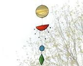 Sunset Suncatcher,Stained glass suncatcher,Sun suncatcher,Yellow suncatcher,Art mobile,Baby mobile,Sun mobile,Home decor,Nature Art