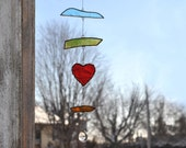 Suncatcher,Heart suncatcher,Stained glass suncatcher,Sea glass suncatcher,Children mobile,Baby mobile,kids room decor,En Bleu et Verre