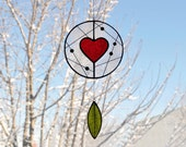 Suncatcher,Heart suncatcher,Stained glass suncatcher,Valentines day,Children mobile,Baby mobile,kids room decor-En Bleu et Verre,