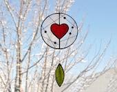 Suncatcher,Heart suncatcher,Stained glass suncatcher,Valentines day,Children mobile,Baby mobile,kids room decor-En Bleu et Verre,