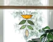 Stained glass Flower,Yellow Flower Suncatcher,Glass plant,Cactus decor,Succulent decor,Mother's day gift,Garden gift,Spring decor,Art mobile