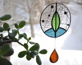 Suncatcher, Leaf suncatcher,Stained glass suncatcher,Window suncatcher,Hanging mobile, Native art,Garden decoration,Dreamcatcher