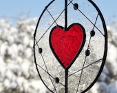 Stained Glass Heart Suncatcher, Red Heart Suncatcher Mobile