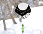 Moon suncatcher,Stained glass suncatcher,Black and white art,Window suncatcher,Hanging mobile, Native art,Garden decoration,Dreamcatcher