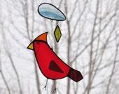 Stained Glass Cardinal Suncatcher,Bird Suncatcher,Glass Suncatcher,Stained Glass Bird,Bird Mobile,Home decor, Garden Decor,En Bleu et Verre
