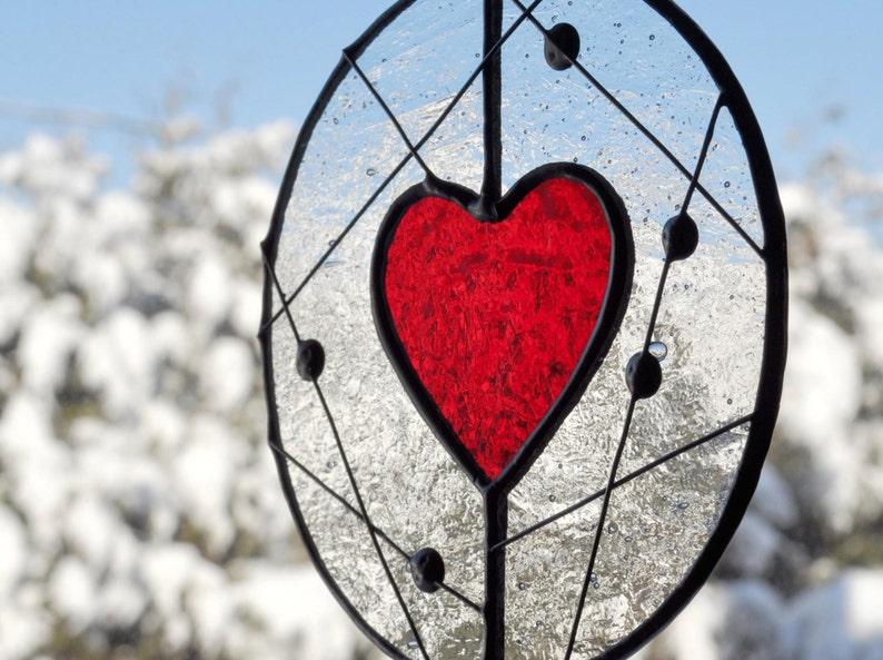 Stained Glass Heart Suncatcher Red Heart Suncatcher Mobile image 0