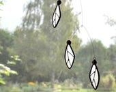Stained glass suncatcher, Black and white suncatcher,Black and white mobile,Samara Suncatcher,Maple seeds art,Tree seeds,En Bleu et Verre