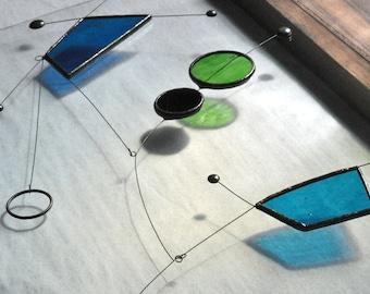 Stained Glass Hanging Mobile Suncatcher, Kinetic Mobile Art for Home, Modern Hanging Mobile, Night Sky Blue Suncatcher