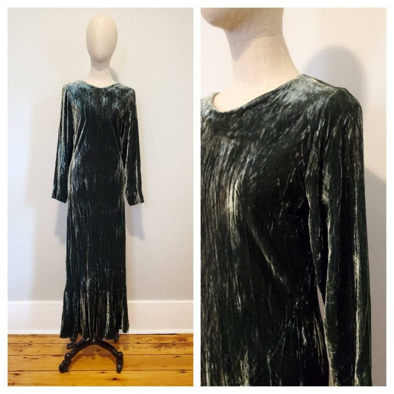 90s sheer maxi dress / 80s Bias Velvet Dress