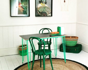 Upcycled Retro Aqua Dining Table. Mid Century Modern Desk. Hairpin leg Breakfast Table.
