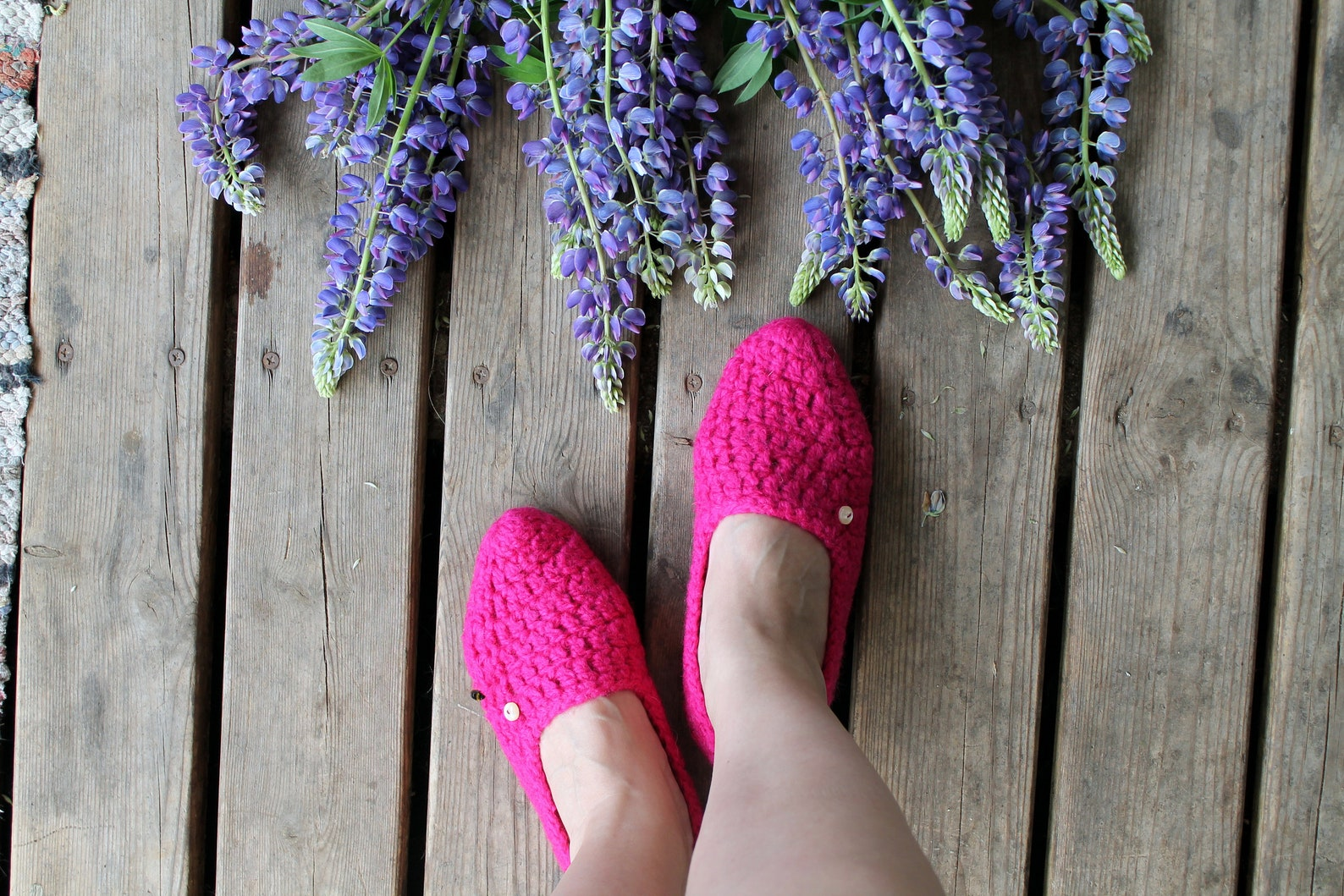 slippers crochet ballet flats knitted purple wool adult home shoes for woman pink with pearl button cozy home socks gift for her