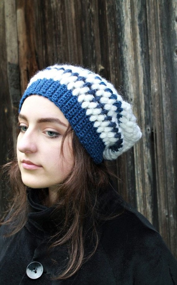 fa6b1bb091e Hat oversized white mohair crocheted stripped blue merino