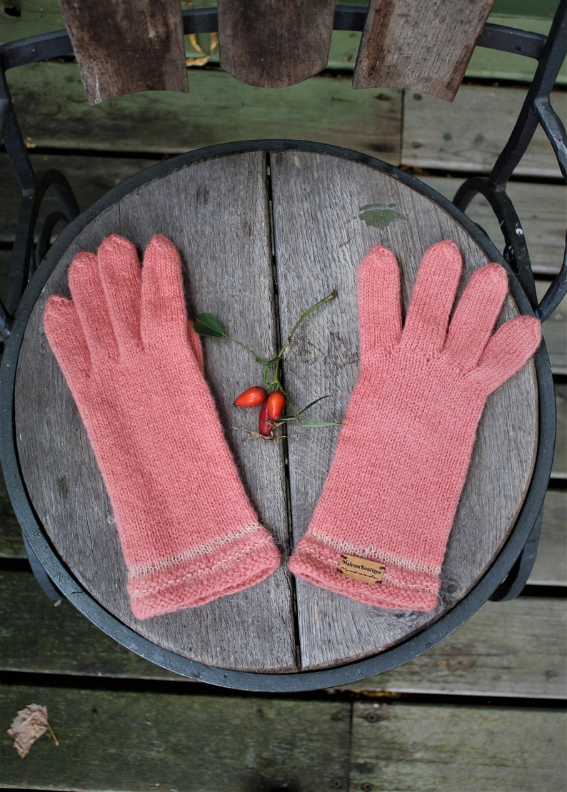 Peach coral pink knitted wool gloves for woman mittens warm image 0