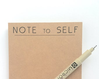 Note to Self -- Minimal, Durable Notepads. Eco-Friendly, Recycled Card stock.