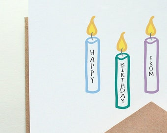 Happy Birthday from ...  Me, the Family, the Dog...Customizable, Personalized Birthday Card  --- Card/Envelope Set