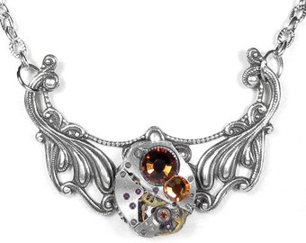 Steampunk Jewelry Necklace Vintage Watch Neo Victorian Silver Filigree Topaz Crystals Mother Mom Gift - Jewelry by Steampunk Boutique