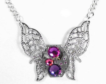Steampunk Jewelry Women Necklace Vintage Watch Silver BUTTERFLY Pink Amethyst Crystals Bridesmaids Girlfriend Gift - by Steampunk Boutique