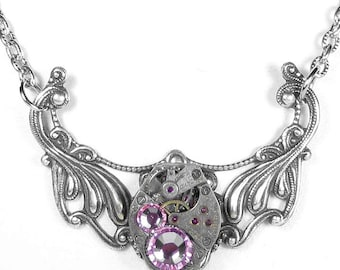 Steampunk Jewelry Necklace Vintage Watch Silver Filigree PINK Rose Crystals Holiday Gift For Her, Christmas - Jewelry by Steampunk Boutique