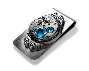 Steampunk Jewelry Money Clip ELGIN Watch Turquoise Crystals Mens Gift Weddings Anniversary Fathers Groom Dad - Jewelry by Steampunk Boutique