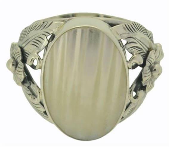 Mond Gesicht Büffel Knochen 925 Sterlingsilber Ring