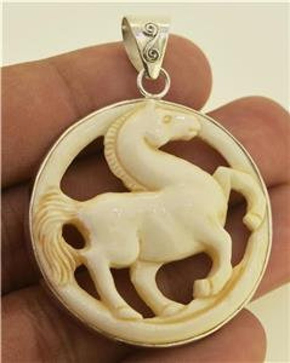 Hand Carved Horse Pony Antique Pendant 925 Sterling Silver Buffalo Bone Jewelry With Soul PN841 E1470
