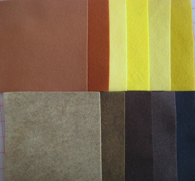 Palette de feutre de laine - - laine 12 x 12 en couleurs de cheveux. Carrés - 11 fiches 1447c3
