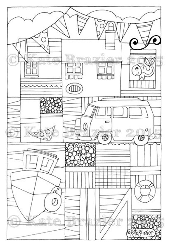Adult colouring page camper on the quay one page instant for Selling coloring pages on etsy
